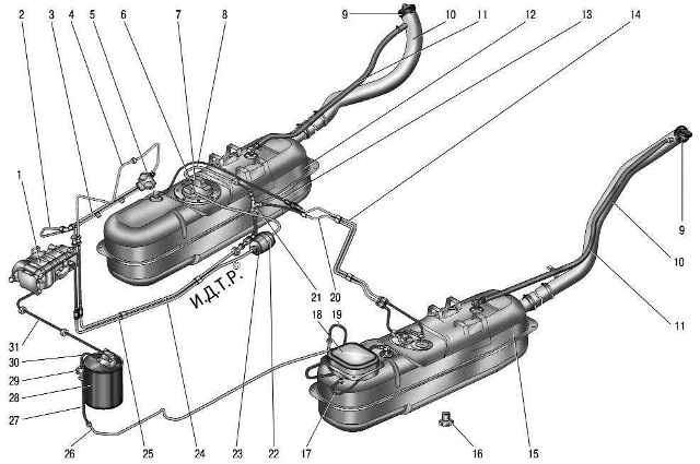 Топливная система УАЗ Патриот: схема топливоподачи